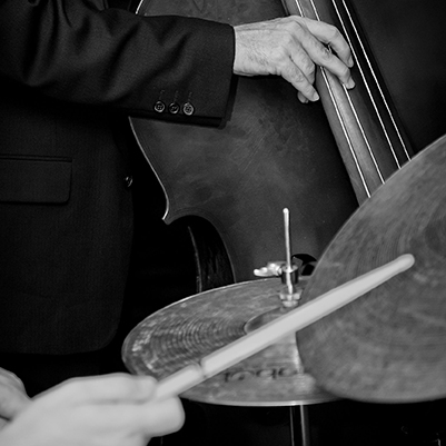 7860546 - double bass and drummer in a live jazz band